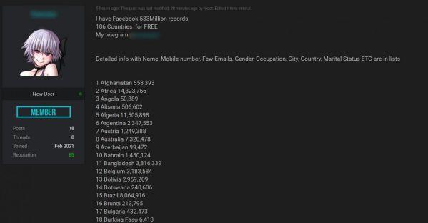 Thông tin của 533 triệu người dùng Facebook toàn thế giới bị rao bán 3