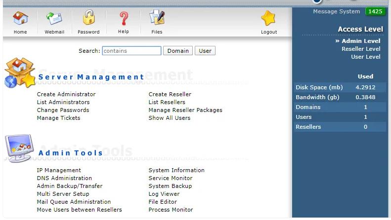Cách kiểm tra dung lượng hosting bằng Cpanel và Directadmin (4)