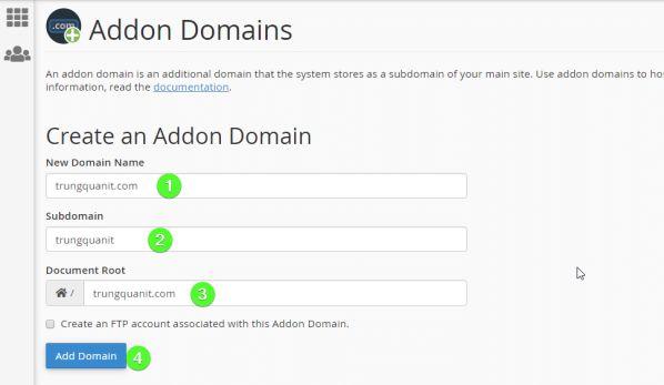 Hướng dẫn cách Addon Domain (tên miền) và tạo Sub Domain cPanel 2