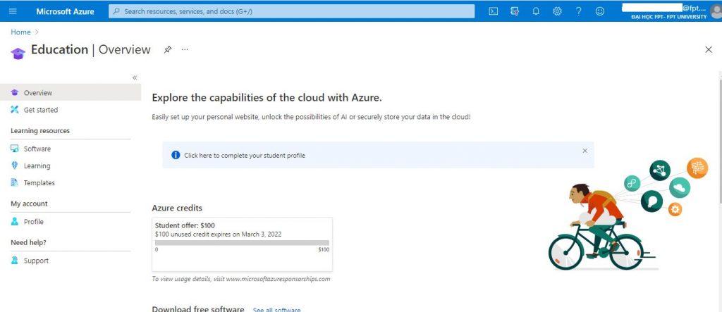 Hướng dẫn cách tạo tài khoản Azure sinh viên cực đơn giản (2)