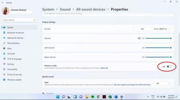Cách dùng Enhance audio cải thiện chất lượng âm thanh trên Windows 11 5