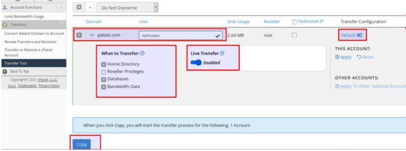 Chuyển dữ liệu website bằng transfer tool trên cpanel WHM (3)